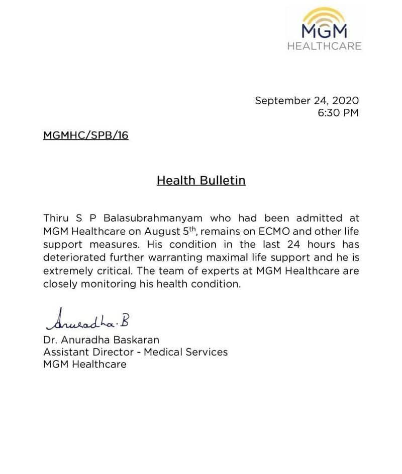 Coronavirus Singer SP Balasubrahmanyam's health condition extremely critical-snj