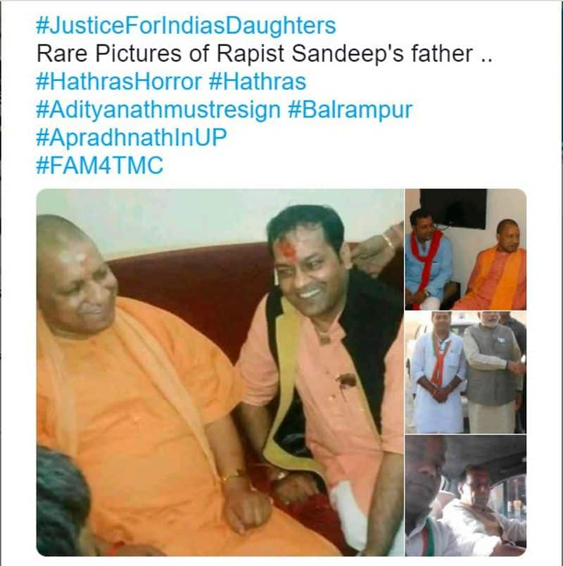 Fact Check of BJP leaders standing next to Father of Hathras Rape accused