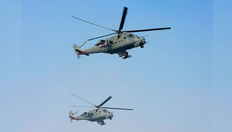 MI-25MI-35Twin engine turboshaft, assault and anti armour helicopter capable of carrying 8 men assault squad with four barrel 12.7 mm rotary gun in nose barbette and upto 1500 Kg of external ordnance including Scorpion anti-tank missiles. It has a max cruise speed of 310 kmhr.