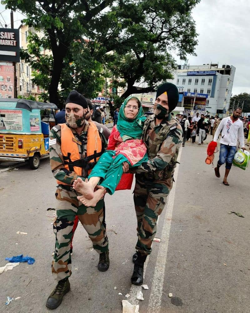 The Bison Division of the Indian Army rescuing stranded citizens in Hyderabad.