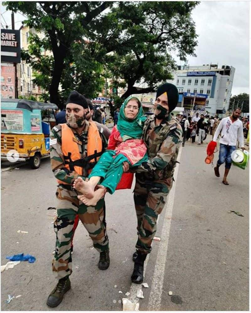indian army involved relief and rescue operation with ndrf at hyderabad flood bsm