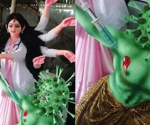 Photo of goddess Durga reimagined as a doctor killing coronasur goes viral KPP