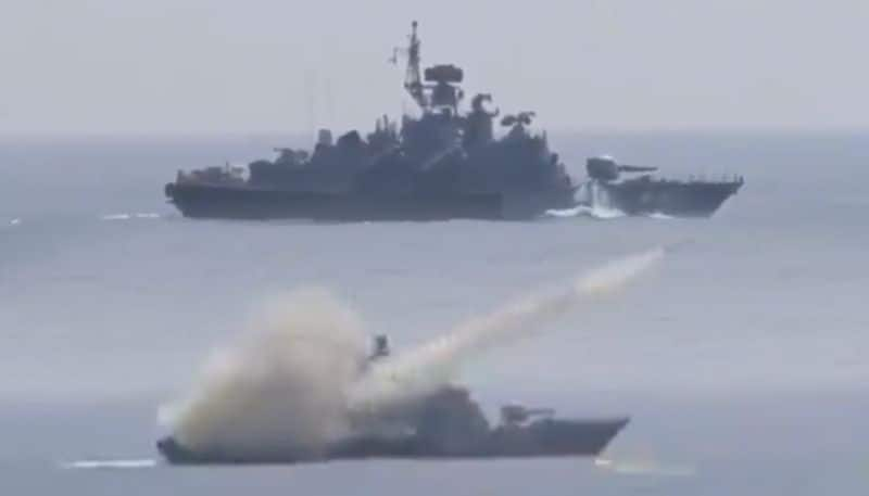 INS Prabal sinks old warship with a missile