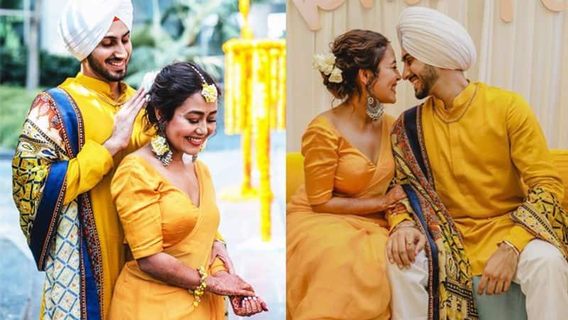 <p>शादी से कुछ ही घंटों पहले एक्ट्रेस की मेंहदी सेरेमनी के बाद अब हल्दी की तस्वीरें भी सामने आ चुकी हैं। इस सेरेमनी में पूरे परिवार ने पीले रंग के कपड़े पहने हैं।&nbsp;</p>