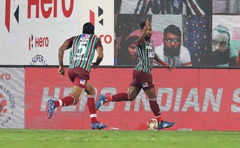 <p>The second half saw five more attempts until the 70th minute, including another save from Bhattacharya. Nevertheless, four minutes later, Edu García gave ATKMB the lead with his right foot to the top right from a free-kick.</p>
