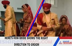 Here's how bride shows the right direction to groom