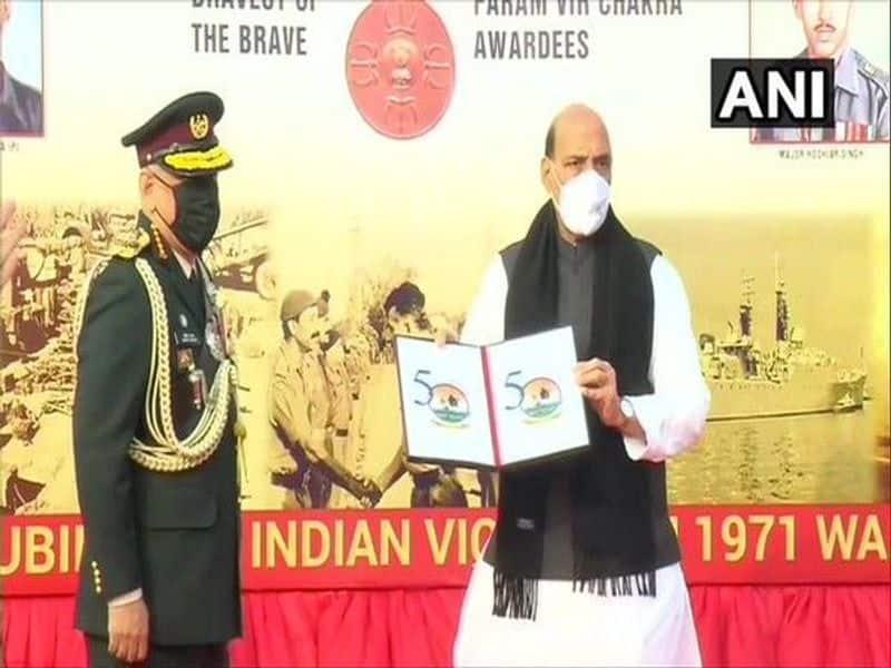 Defence Minister Rajnath Singh unveiled the logo for `Swarnim Vijay Varsh` to mark the 50th-anniversary of the 1971 India-Pakistan war on Wednesday.