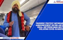 Farmers' protest information announcement on mid-air goes viral; netizens bash him for violating COVID-19 norms.