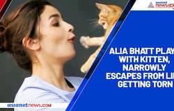 Alia Bhatt plays with kitten, narrowly escapes from lips getting torn