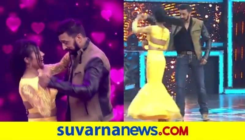 Nannarasi radhe actress dances with kichcha Sudeep on Anubandha stage dpl