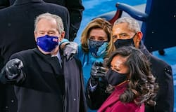 <p>Seen at the swearing in ceremony were former Presidents Barack Obama, George Bush and Bill Clinton. Outgoing President Donald Trump left the White House three hours before the ceremony and flew off to florida with Melania Trump.&nbsp;<br /> &nbsp;</p>