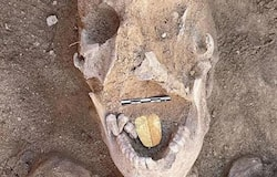 <p>2000years old egypt mummy with a golden toungue unearthed</p>
