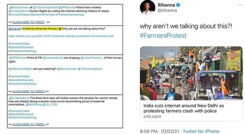"""<p>Take for instance the Tweet by American pop star Rihanna.&nbsp;<br /> &nbsp;</p>  <p>The tweet with the tag line """"Why are we not talking about this?"""" comes with a CNN article on the Republic Day clashes embedded in the post.&nbsp;All that a """"celebrity / Influential person"""" needs to do is to put their name behind the post.<br /> &nbsp;</p>  <p>Among those who seem to have used the template is the Congress party whose Kerala women's unit handle sounds word to word similar to the tweets from the Google Drive.<br /> &nbsp;</p>  <p>Then again, while the manual talks at length about forcing the Indian administration to repeal the controversial farm laws, it is suspiciously silent on the road ahead if and when the laws were to be junked.<br /> &nbsp;</p>  <p>Instead, it shifts focus upon defaming India and its government on issues like the persecution of government critics, harassment of independent journalists and oppression of citizens in favour of corporates.</p>"""