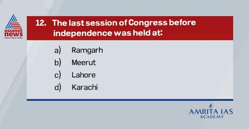 Ans: BThe last session of congress before independence was held at Meerut in 1946.The president was J B Kripalani.