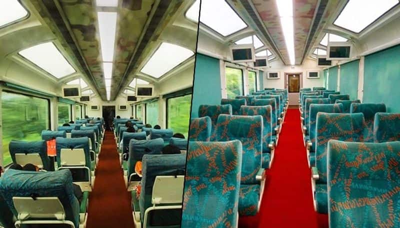 <p>The coaches have a mini pantry, a service area comprising a hot case, microwave oven, coffee maker, bottle cooler, refrigerator and washbasin. They also boast of FRP modular toilets with a pressurized flushing system.<br /> &nbsp;</p>