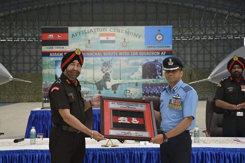Indian Army's Assam Regiment & Arunachal Scouts was formally affiliated to Indian Air Force's 106 Squadron 'Lynx' in a ceremony at Tezpur in Assam.On the occasion, Colonel of the Assam Regiment & Arunachal Scouts Major General PS Behl took inspection of the Guard of Honour. Major General PS Behl and IAF's 106 Squadron Group Captain Varun Slaria signed the 'Charter of Affiliation'.The Assam Regiment was raised on June 15, 1941 and stood its ground to turn defeat into victory winning six Battle Honours in the Second World War.