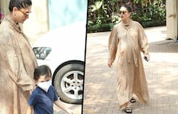 """<p style=""""text-align: justify;"""">While her whole fan family is waiting to hear the good news, the Good Newz actress is seen roaming around with her son. Kareena had her due date on February 15, but it seems like we have to wait a little more to get the good news. There was a rumour of her delivering the baby yesterday.&nbsp;</p>"""