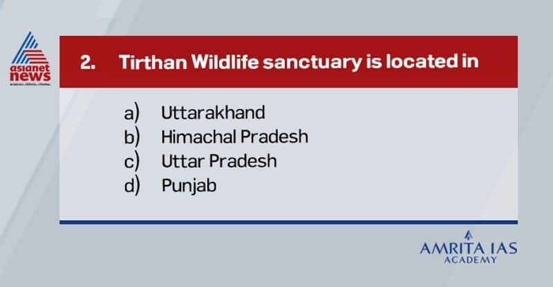 Answer (b) Tirthan wildlife sanctuary is located in Himachal Pradesh. RecentlyTirthan Wildlife Sanctuary and Great Himalayan National Park in Himachal Pradeshtoped in conservation performance assessed under Management Effectiveness Evaluation survey, which is an initiative by Ministry of environment.