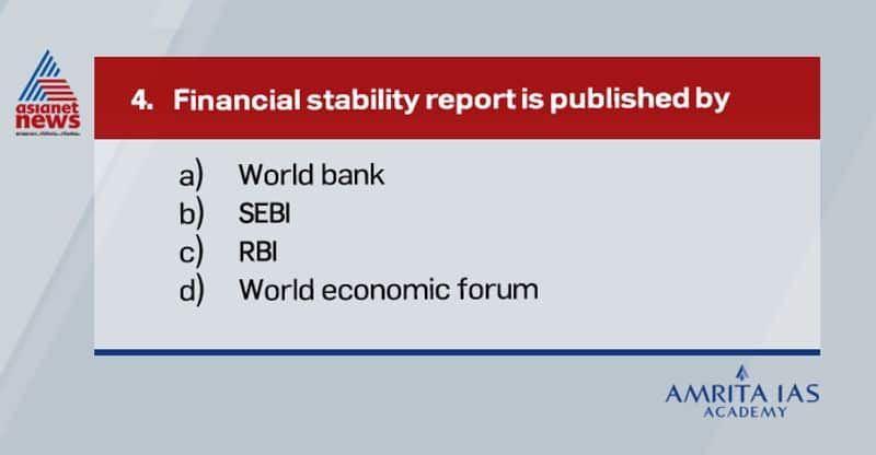 Answer (c) RBI publishes financial stability report. According to recent report, NPAs are likely to rise to 13.5%.