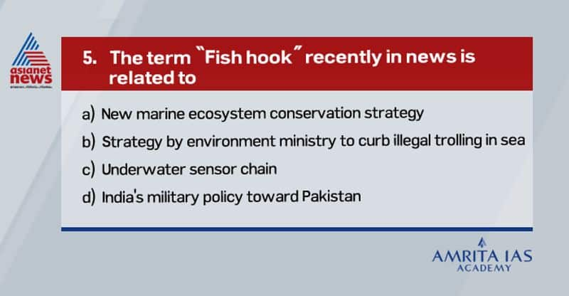 """Answer (c) 'Fish-hook SOSUS (sound surveillance sensors chain)' is an undersea sensors chain for sound surveillance. It was introduced during cold war by USA to track the ships and submarines of the Soviet Union. Recently India, as part of Great Indian Maritime Strategy, introduced """"Fish Hook Undersea DefenceLine"""", linkingAndaman Region with undersea sensors Chain to detect Chinese submarines."""