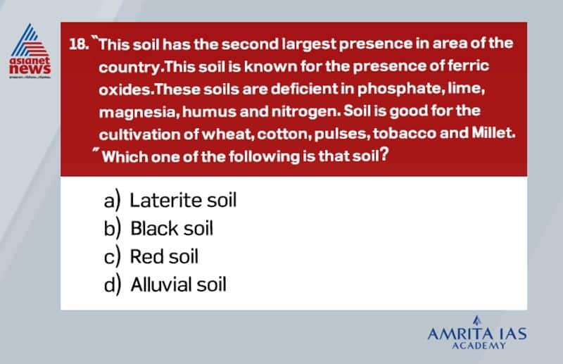 Answer(c) The red color is due to the presence of iron oxide. These soils mostly occur in the regions of low rainfall. These soils are spread on almost the whole of Tamil Nadu. The red soils are mostly loamy and hence cannot retain water like the black soils. The red soils, with the proper use of fertilizers and irrigation techniques, give good yield of cotton, wheat, rice, pulses, millets, tobacco, oilseeds, potatoes, and fruits.
