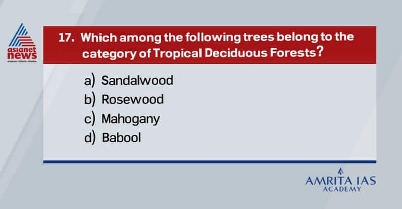Answer (a) Rosewood and Mahogany belongs to tropical evergreen forest. Babool is grown in arid desert regions.