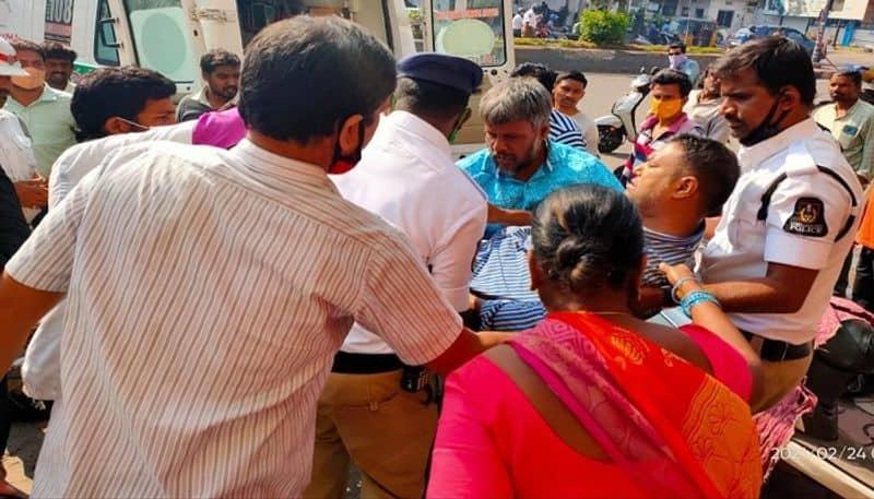 couple injured after falling under rtc bus in himayat nagar, hyderabad - bsb