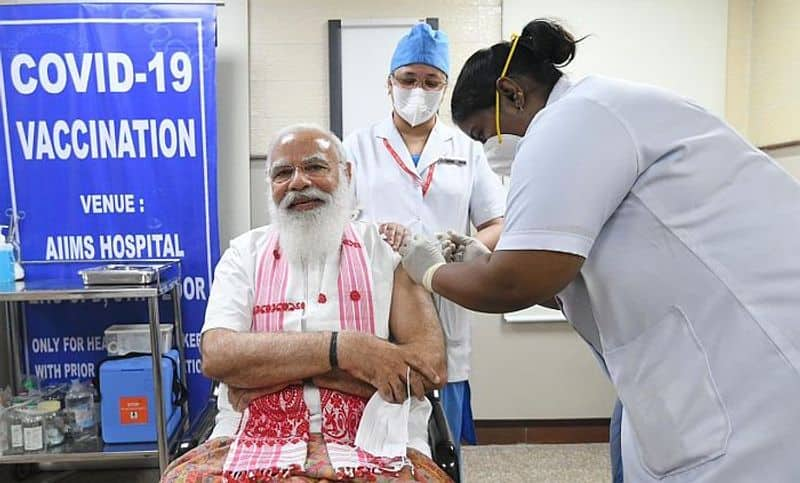PM Modi takes first dose of Covaxin at Delhi AIIMS