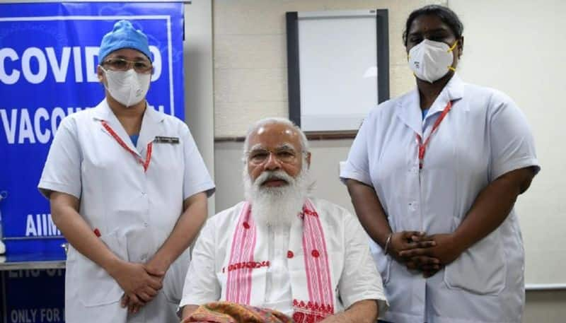 How PM Modi used humour to lighten up the atmosphere of AIMS during covid-19 vaccination ALB