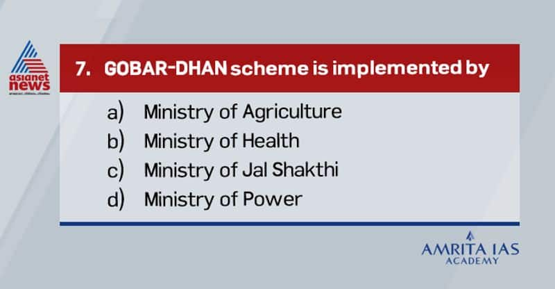 <p><br /> <strong>Answer (c)</strong></p>  <p><br /> &nbsp;&nbsp; &nbsp;GOBAR-DHAN scheme is implemented by Ministry of Jal Shakti.&nbsp;<br /> &nbsp;&nbsp; &nbsp;It aims to convert cattle dung and solid waste to energy in form of Bio-gas, or Bio-CNG.<br /> &nbsp;&nbsp; &nbsp; It is part of Swachh Bharat Mission, phase-2.<br /> &nbsp;&nbsp; &nbsp;Recently Jal shakti Ministry launched an online portal to connect farmers and buyers of waste.</p>