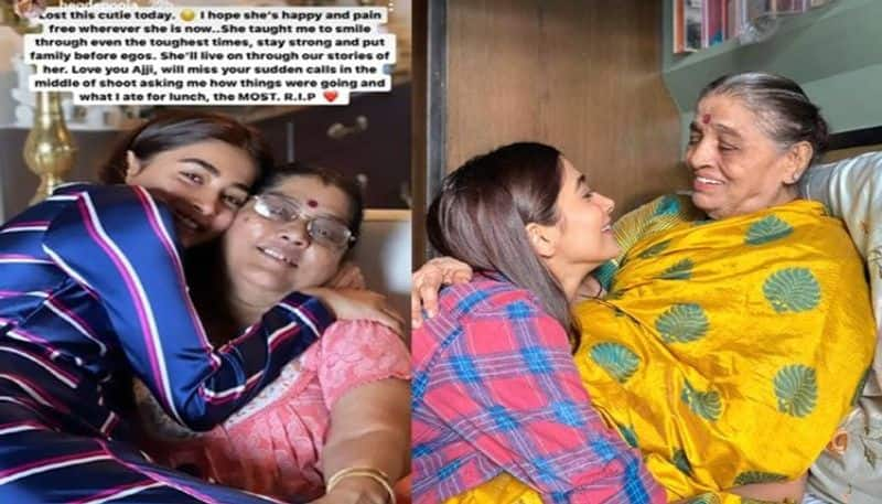 pooja hegde grand mother dies and she gets emotional  arj