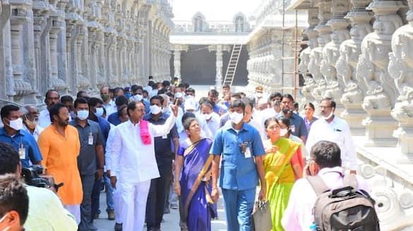 Telangana CM KCR visits Yadadri temple lns