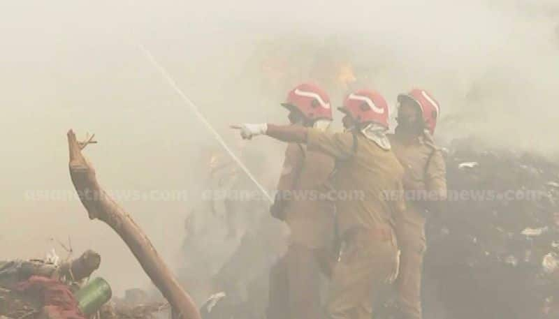 fire in brahmapuram waste plant fire force trying to bring it under control
