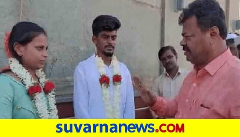 BJP MLA MP Renukacharya Blessed Newly Love Married Couple In Davanagere rbj