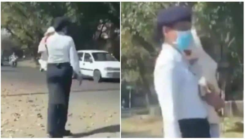 Chandigarh cop controls traffic with baby in her arms