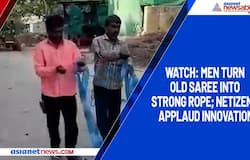 Watch: Men turn old saree into strong rope; netizens applaud innovation
