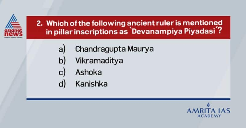 """Answer (c) Devanampriya, also Devanampiya was a Pali honorific epithet used by a few Indian monarchs, but most particularly the Indian Emperor Ashoka (r.269-233 BCE) in his inscriptions (the Edicts of Ashoka). """"Devanampriya"""" means """"Beloved of the Gods"""". It is often used by Ashoka in conjunction with the title Priyadasi, which means """"He who regards others with kindness""""."""