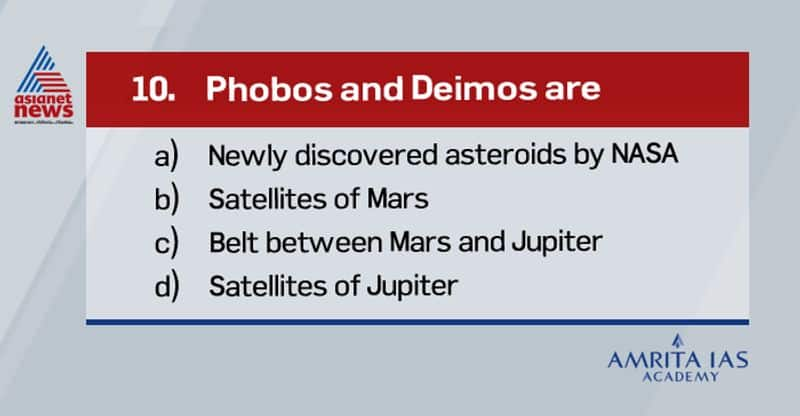 Answer(b) The two moons of Mars are Phobos and Deimos. They are irregular in shape. Both were discovered by American astronomer Asaph Hall in August 1877 and are named after the Greek mythological twin characters Phobos and Deimos who accompanied their father Ares into battle. Ares, god of war, was known to the Romans as Mars.