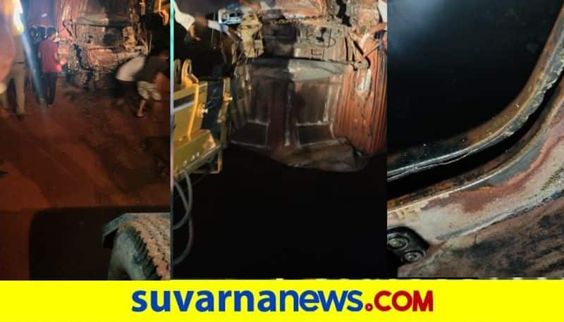 Fire Broke Out After Private Bus Collides into Lorry in Dakshina Kannada snr