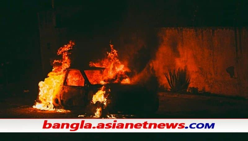 EC car set on fire at Bandwan, TMC-BJP clash at Patashpur hours ahed of first phase voting ALB
