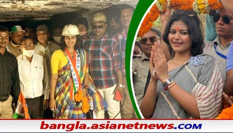 Tmc Candidate Saayoni Ghosh visits coal mine in jamuria  wearing saree that sparks controversy BRd