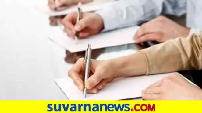 Students Write Exam During Coronavirus in Dharwad grg