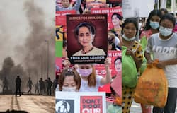 <p>Myanmar military coup and fleeing protesters</p>