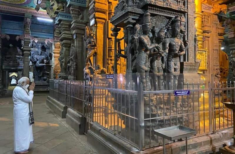Tamil Nadu assembly election PM Modi visits Meenakshi Sundareshwarar Temple in Madurai ckm