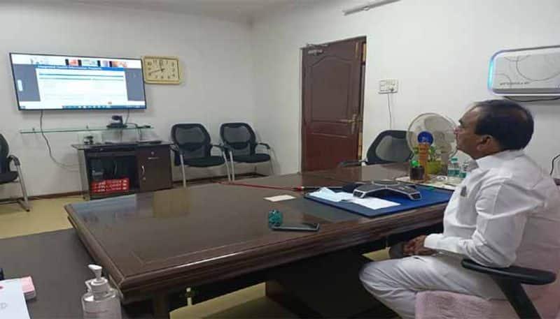 Telangana minister Etela Rajender participates video conference with union minister Harshavardhan lns