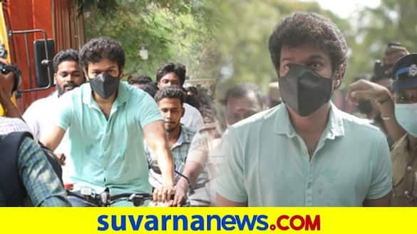 Actor Vijay cycles to TN polling booth to cast his vote pod