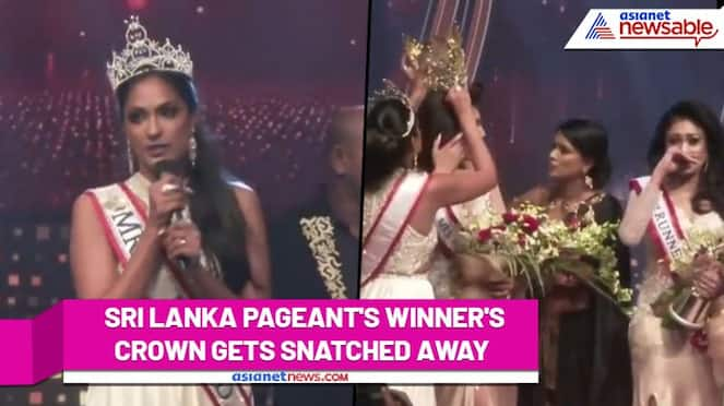 Oops Mrs Sri Lanka's crown gets snatched away; watch this funny video - ank