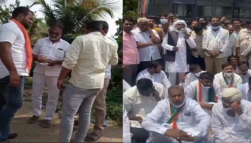 Congress protest against BJP and Police over money distributions to voters in Maski By Poll rbj