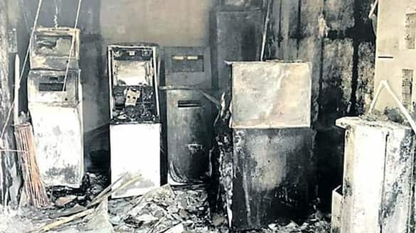 fire accident in sbi atm in anantapur district ksp
