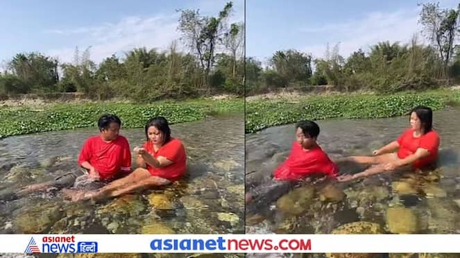 boyfriend got romantic in the river, then the girlfriend kicked him from behind KPZ